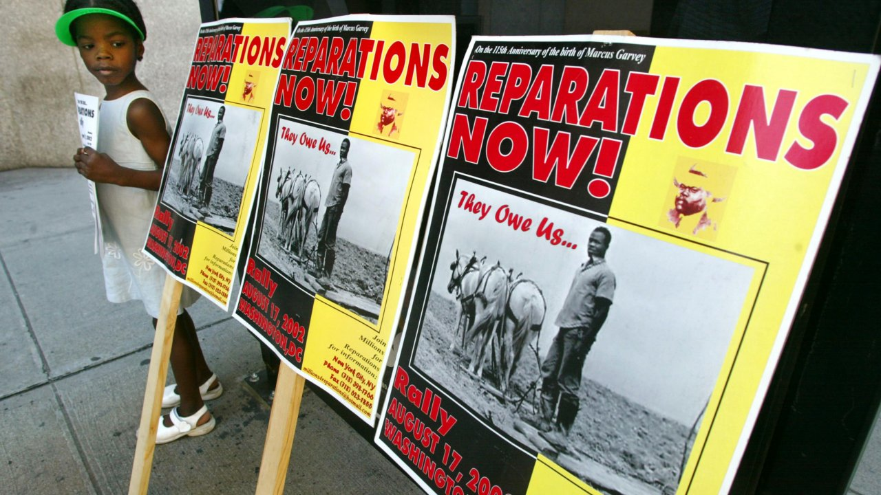 A protest for slavery reparations in New York City