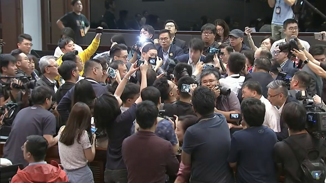 A fight broke out during a debate in Hong Kong's parliament.