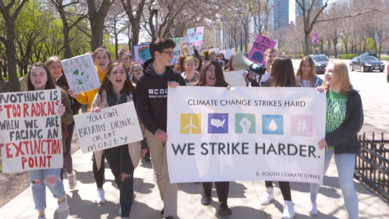 Isabella Johnson leads a climate strike in Chicago