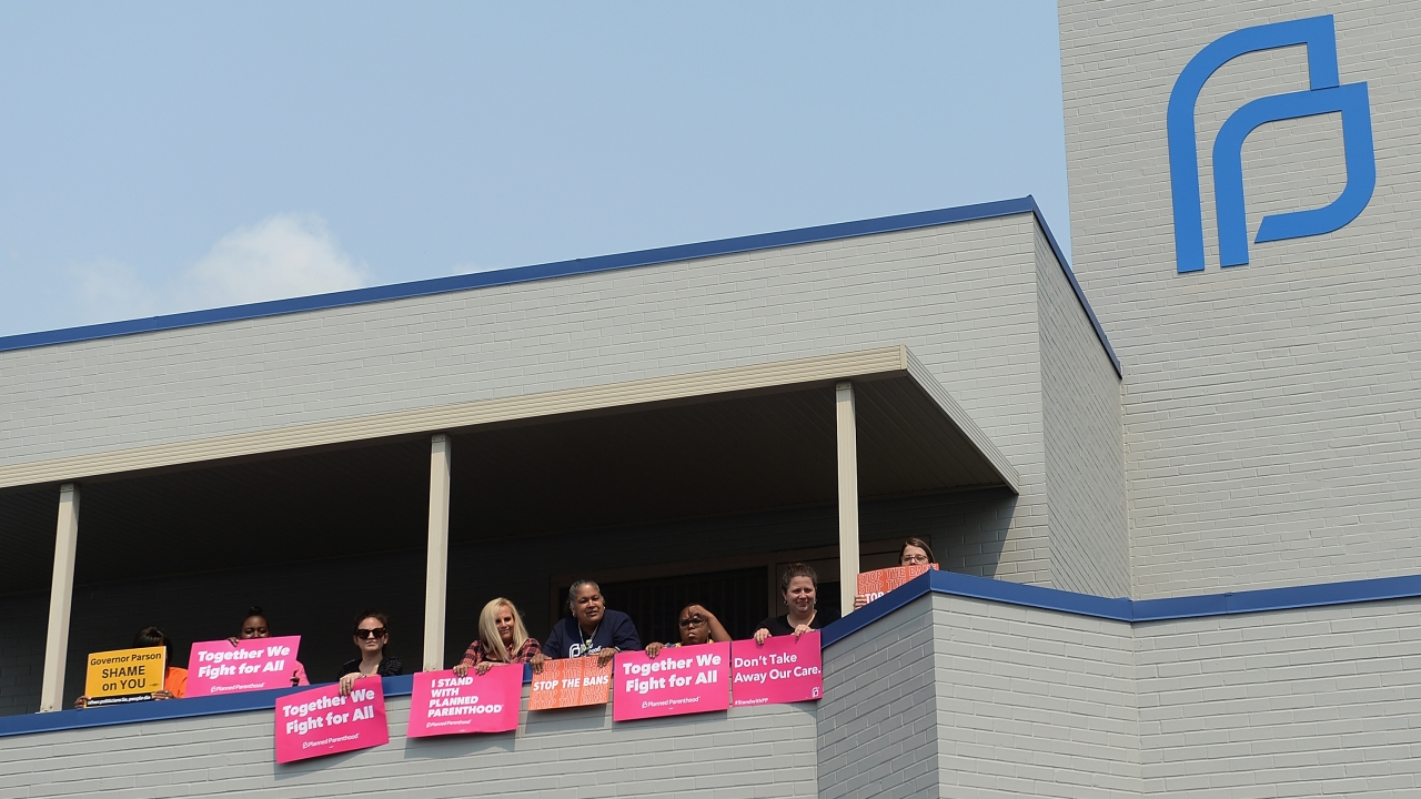 Abortion rights supporters at a Planned Parenthood facility