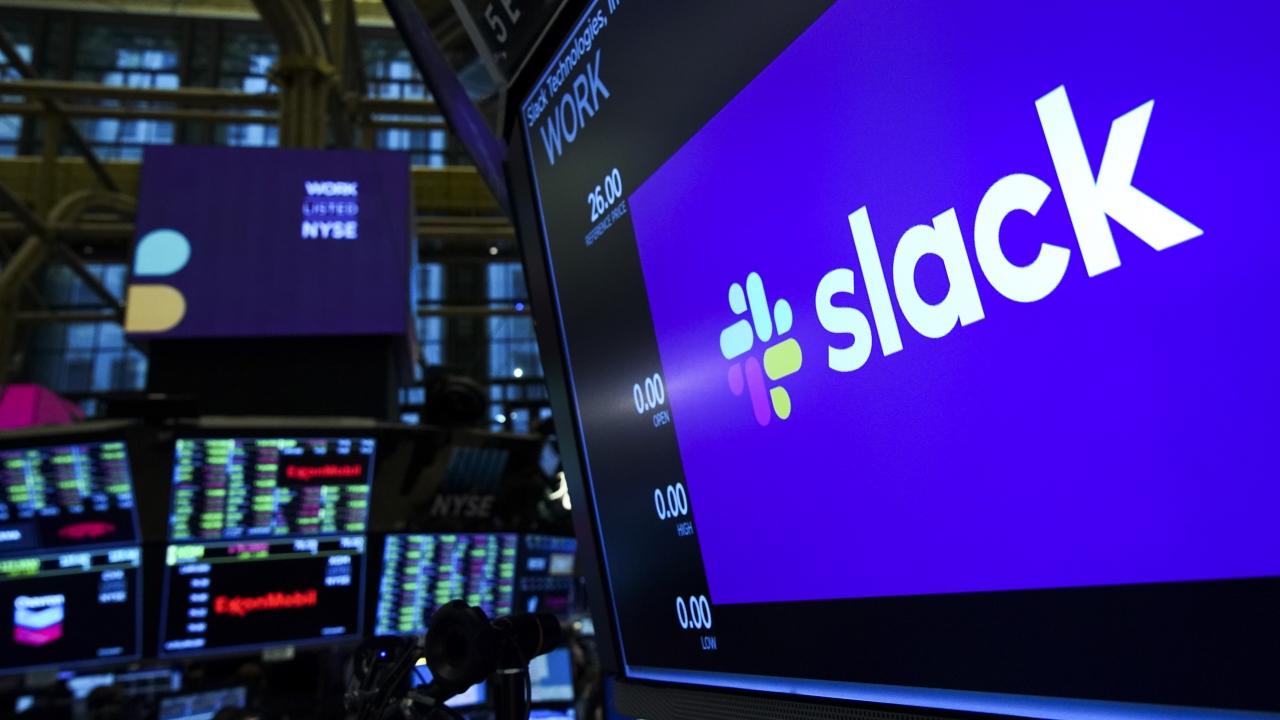 Slack logo at the New York Stock Exchange