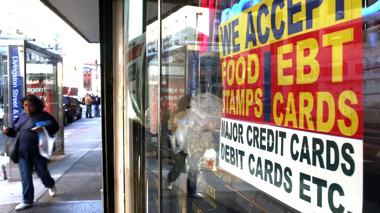 Food stamp sign in a store window
