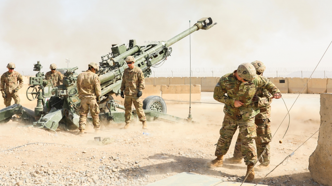 U.S. troops during Operation Proper Exit on Kandahar Airfield, Afghanistan