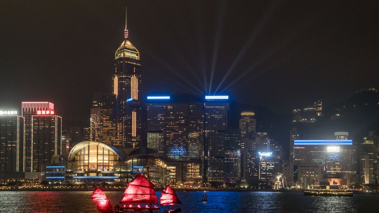 Hong Kong's Victoria Harbor at night