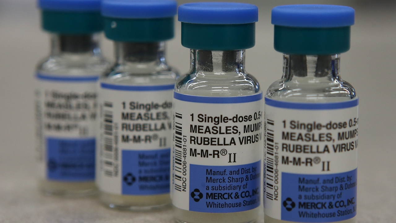 Vials of Measles, Mumps and Rubella vaccines