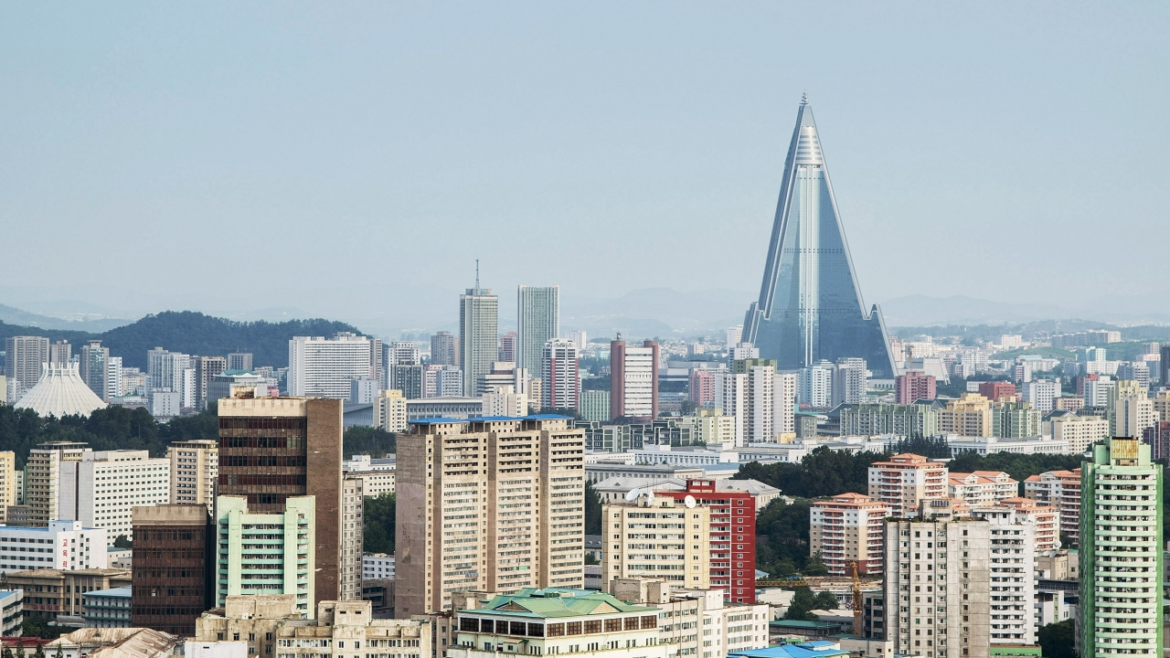 A city skyline in North Korea