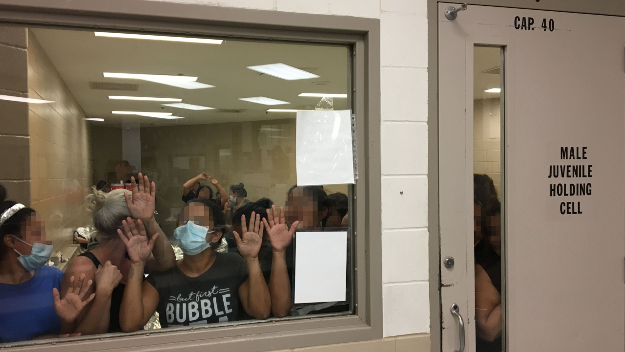 People held in a detention center