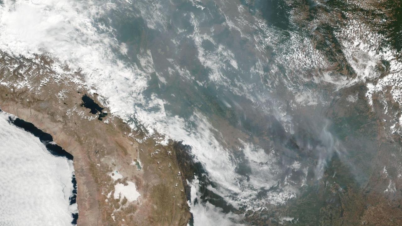 Wildfire smoke over Brazil