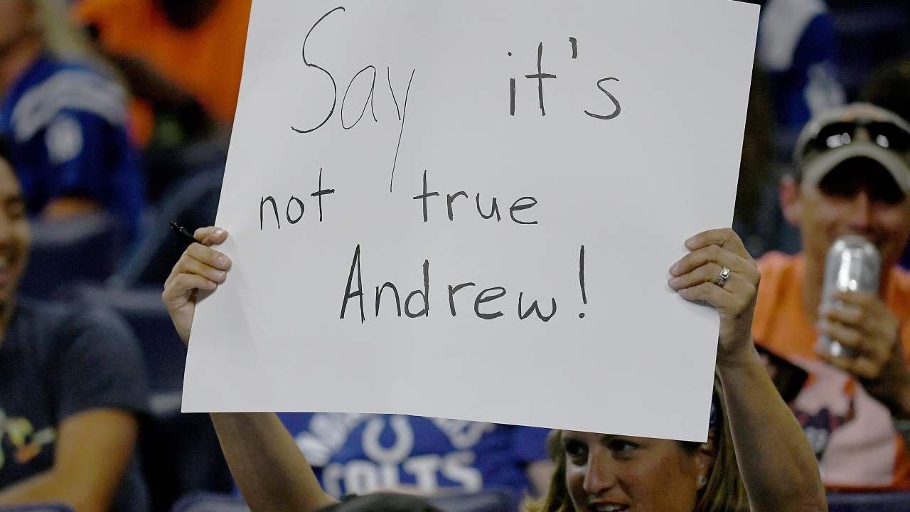 Fan in Indianapolis as word spread of Andrew Luck's retirement.