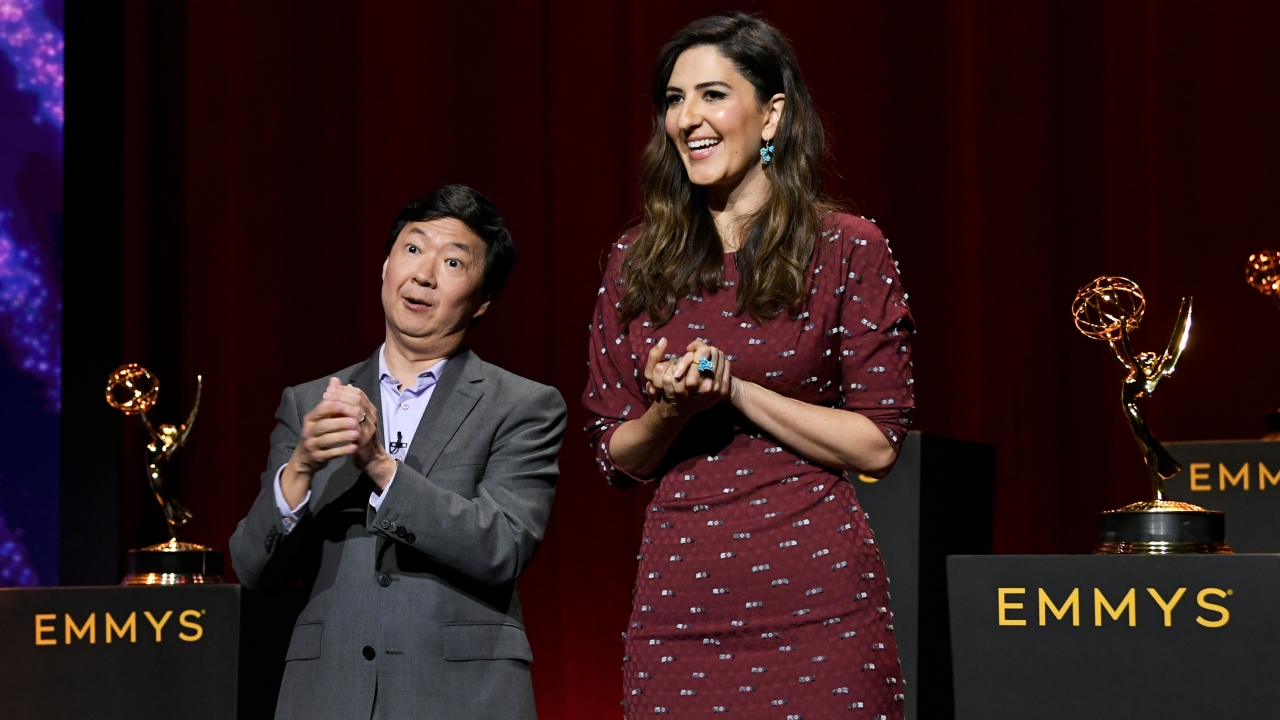 Ken Jeong and D'Arcy Carden at the Emmys