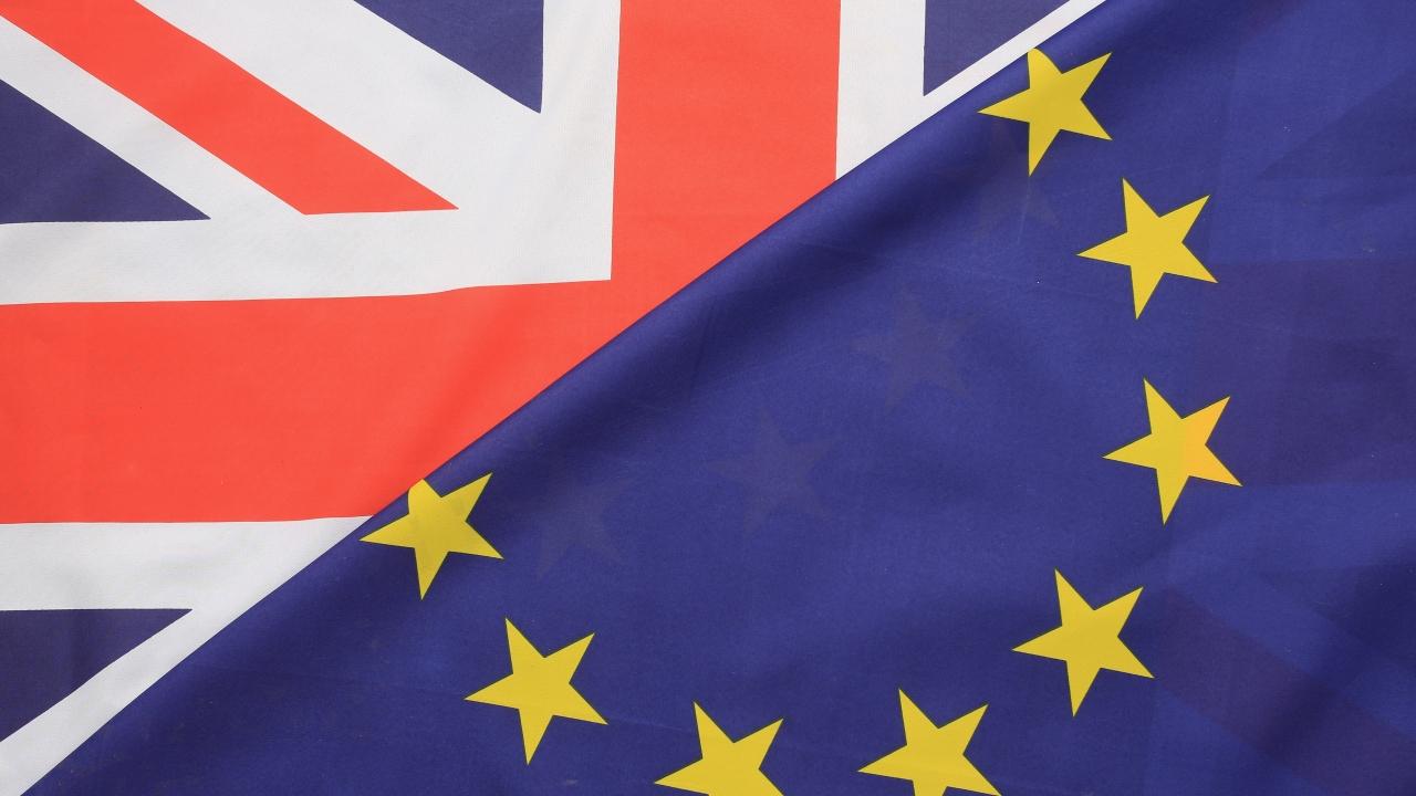 The EU and U.K. flags
