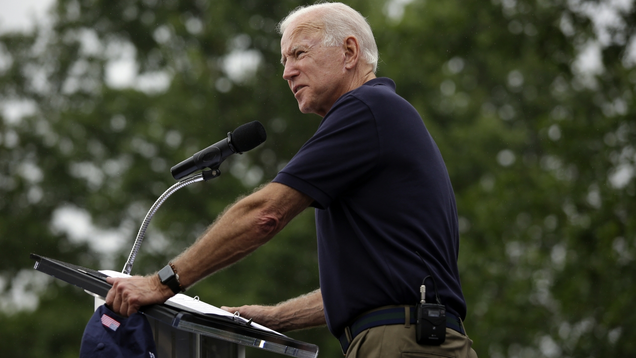 Democratic presidential candidate and former Vice President Joe Biden speaks during the Democratic Polk County Steak Fry