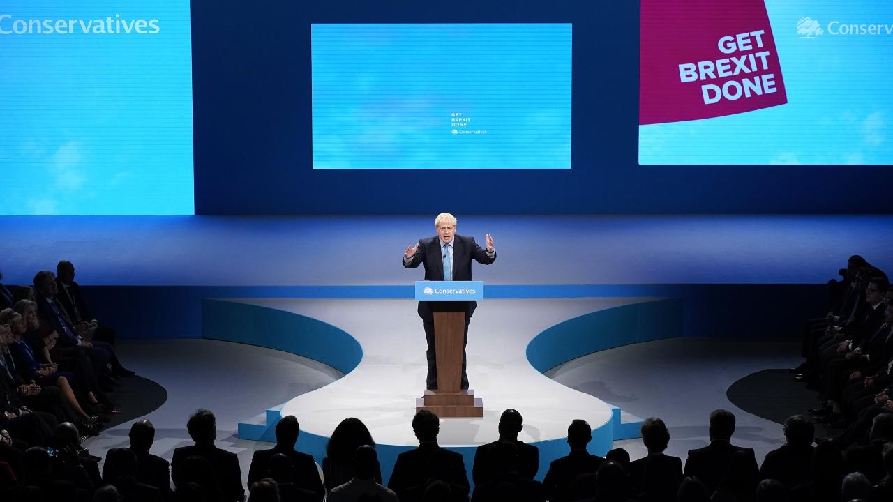 British Prime Minister Boris Johnson delivers a speech