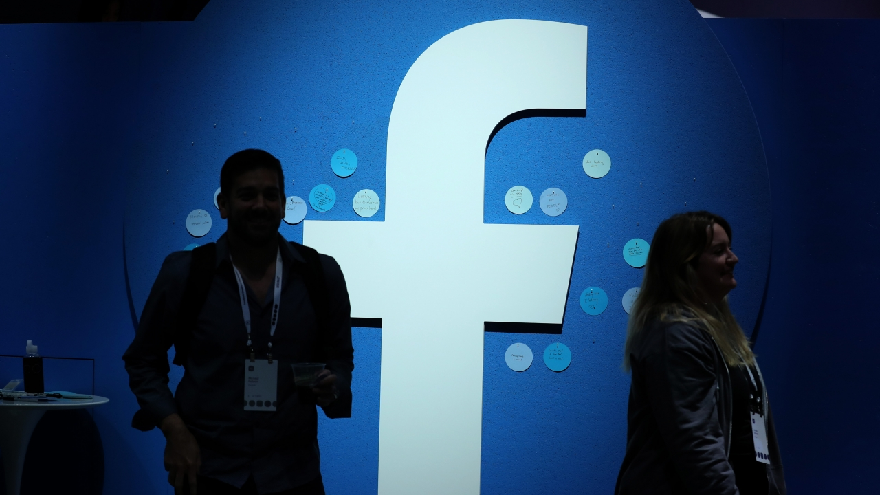 Facebook's logo is shown during the F8 Facebook Developers conference in April, 2019