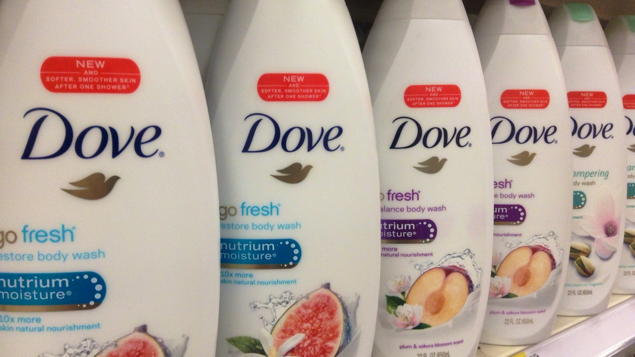 Bottles of Dove body wash