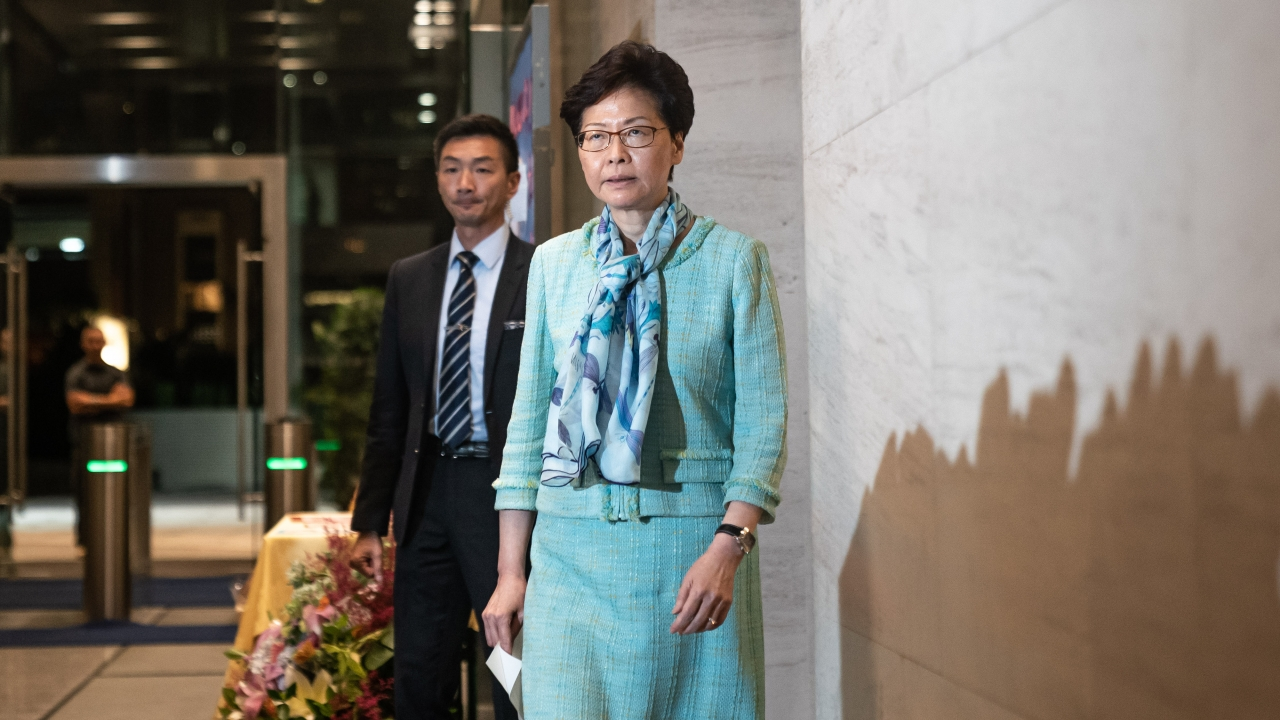 Hong Kong Leader Forced To Abandon Speech After Protests