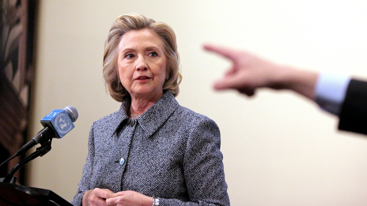 Former U.S. Secretary of State Hillary Clinton speaks to the media