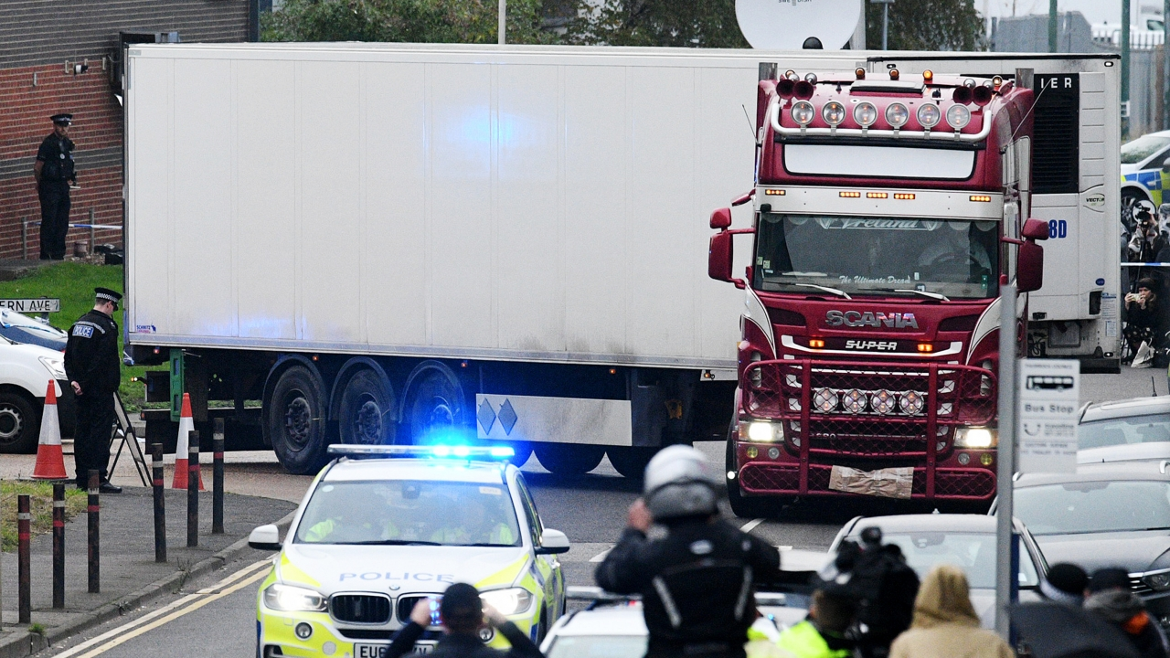 A truck in which 39 bodies were discovered in the trailer