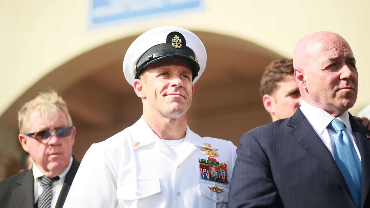Navy SEAL Edward Gallagher outside of court after being acquitted of murder and war crimes