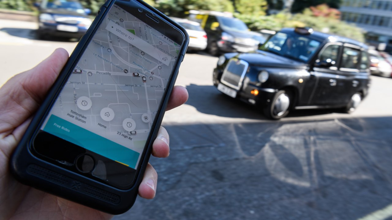 Uber app on a phone screen.