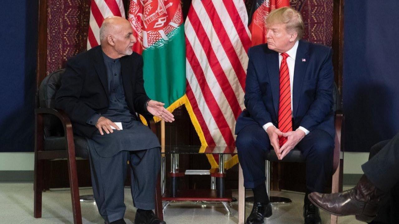 Afghan President Ashraf Ghani meets with U.S. President Donald Trump