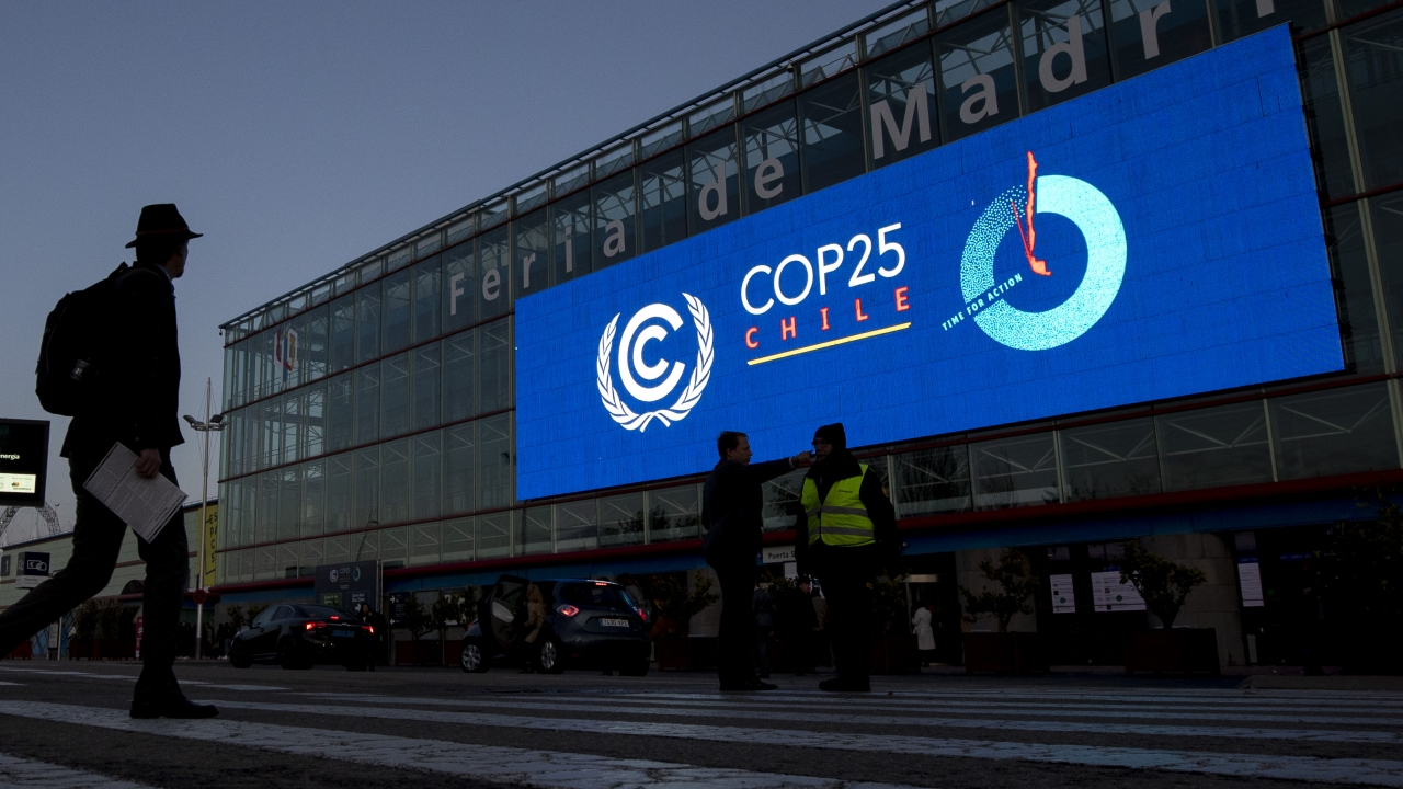 A conference hall at the COP25 climate meeting