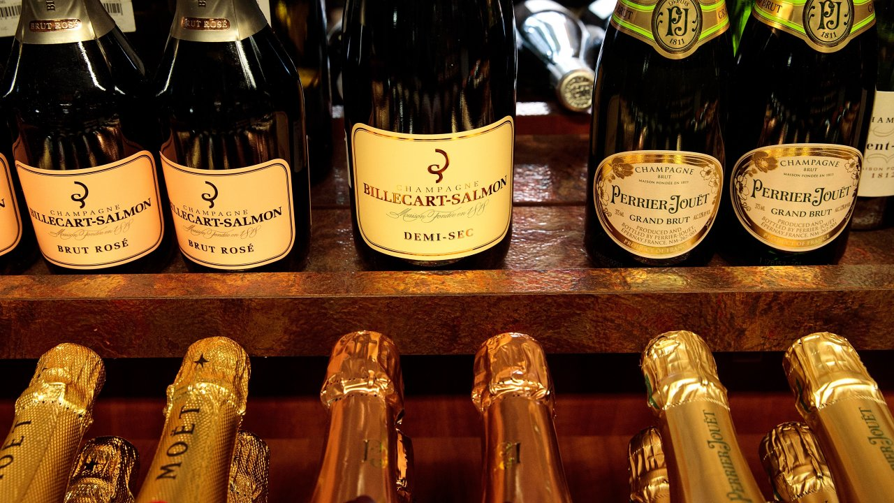 Bottles of French Champagne for sale at a store