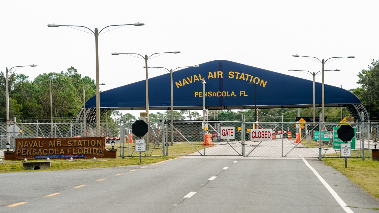Pensacola Naval Air Station following a shooting on Dec. 06, 2019