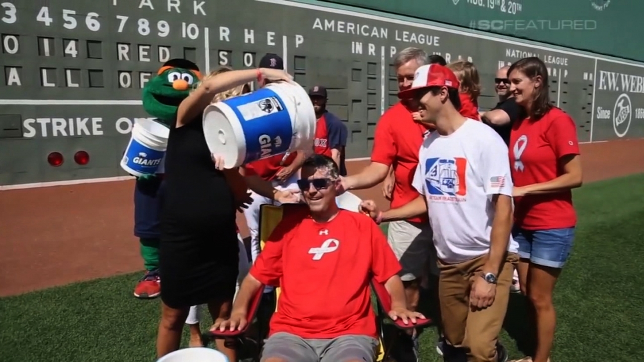 Pete Frates takes part in the Ice Bucket Challenge