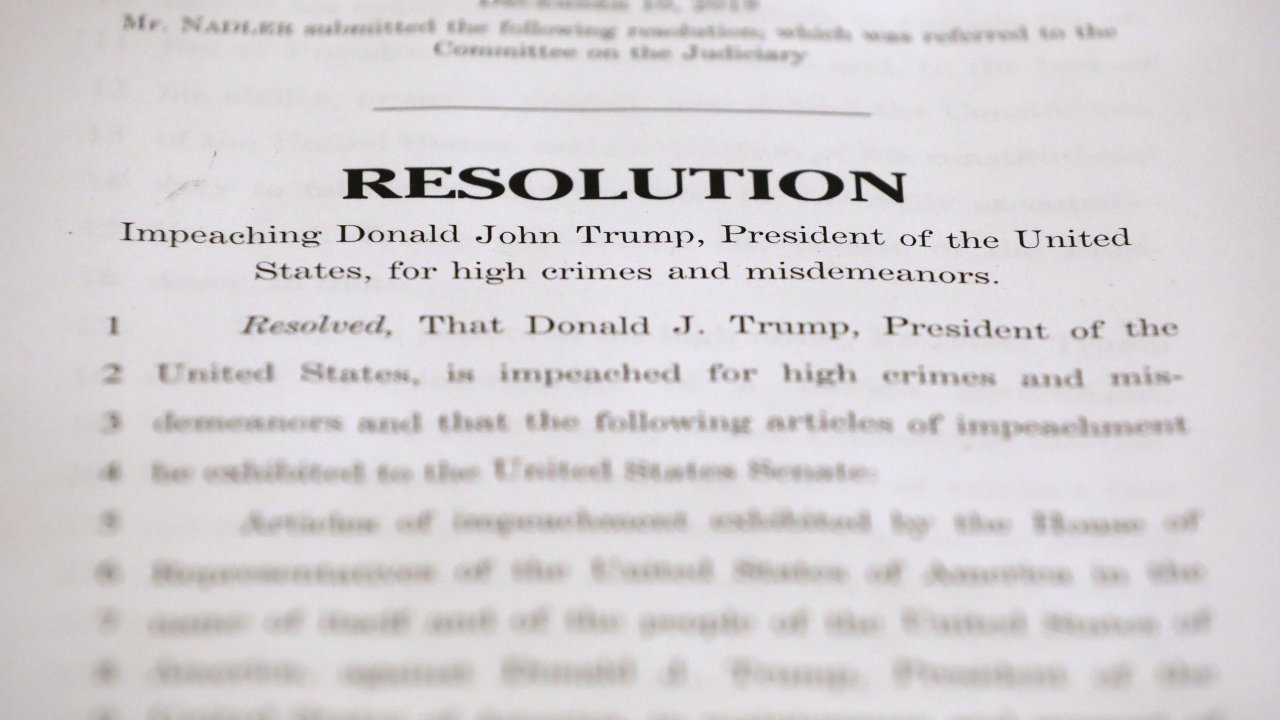 A photo of the articles of impeachment