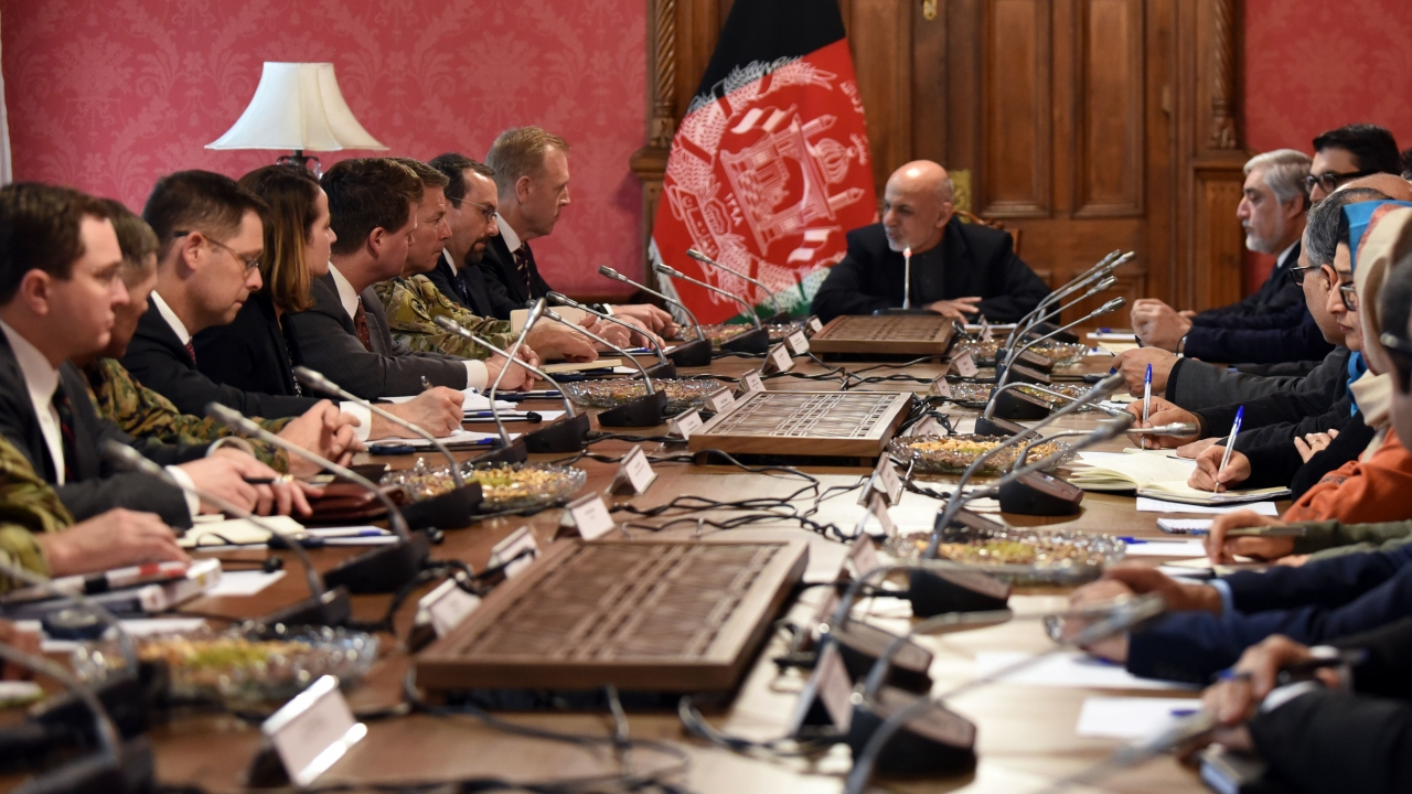The U.S. meets with Afghan President Ashraf Ghani at the presidential palace in Kabul, Afghanistan, Feb. 11, 2019