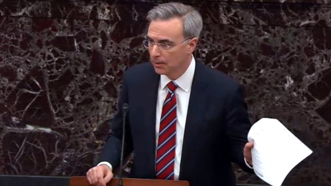 In this screengrab taken from a Senate Television webcast, White House Counsel Pat Cipollone speaks during impeachment.