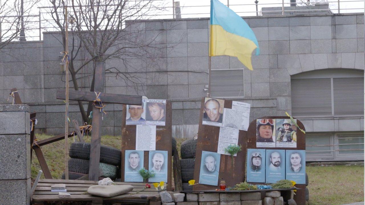 A memorial for the victims at Maidan