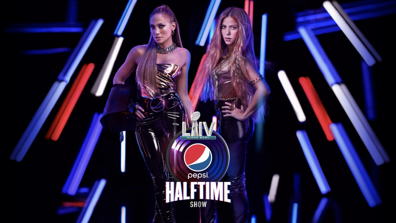 Promotional image for Jennifer Lopez and Shakira's 2020 Super Bowl halftime performance