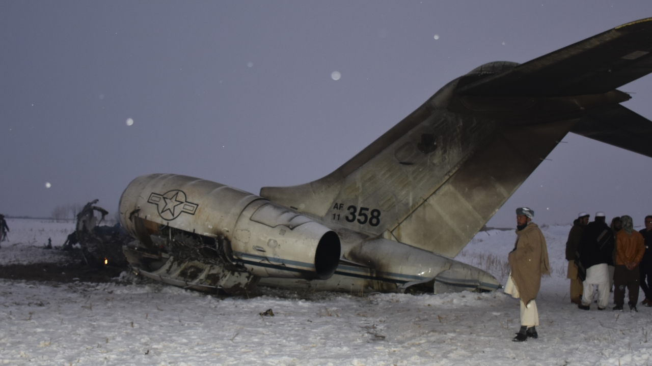 A wreckage of a U.S. military aircraft that crashed in Ghazni province, Afghanistan.