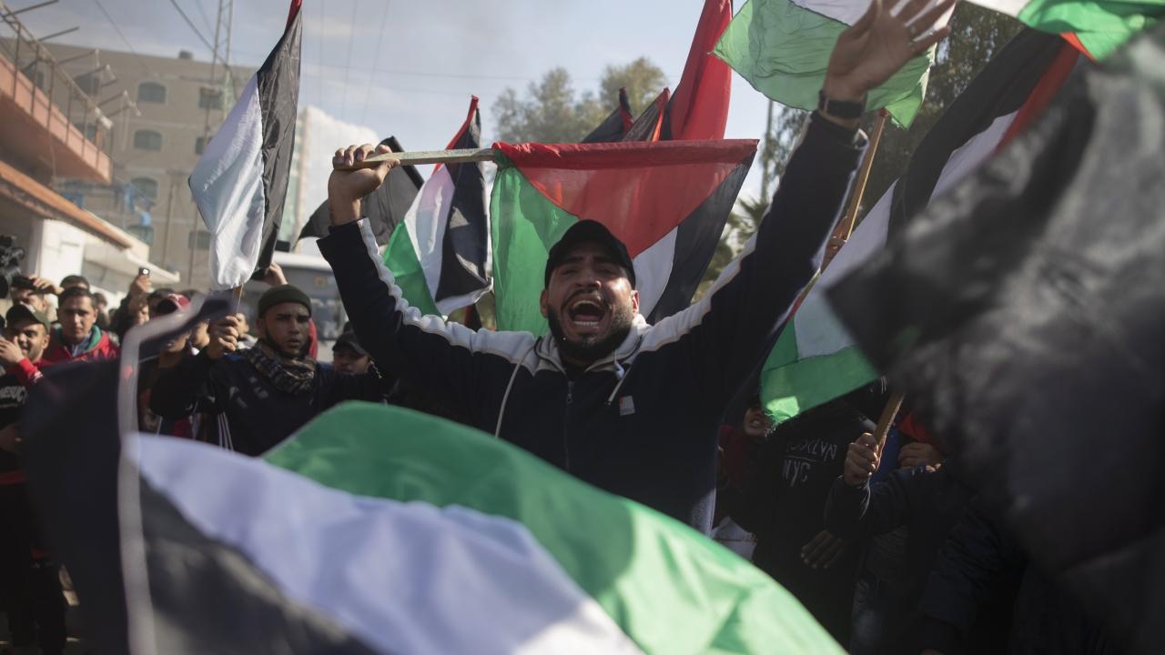 Palestinian protesters in Gaza City