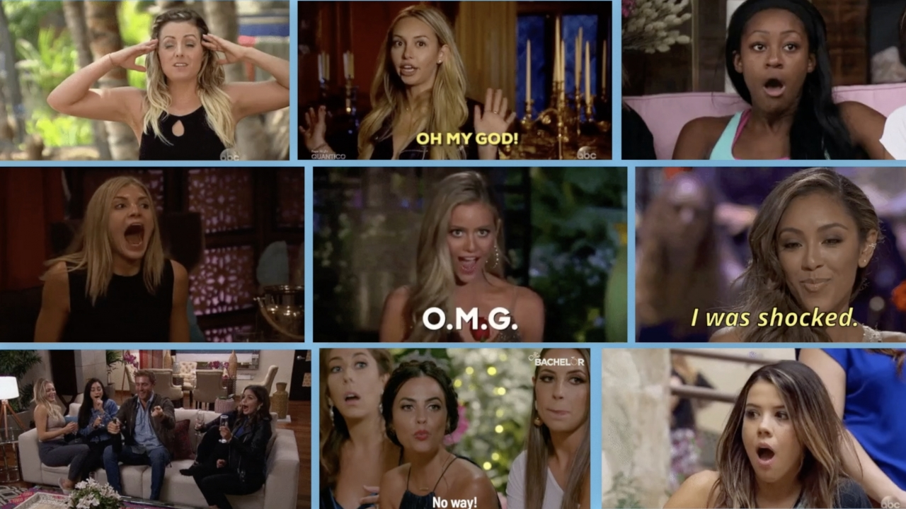 """Screenshots of clips from ABC reality TV show """"The Bachelor."""""""