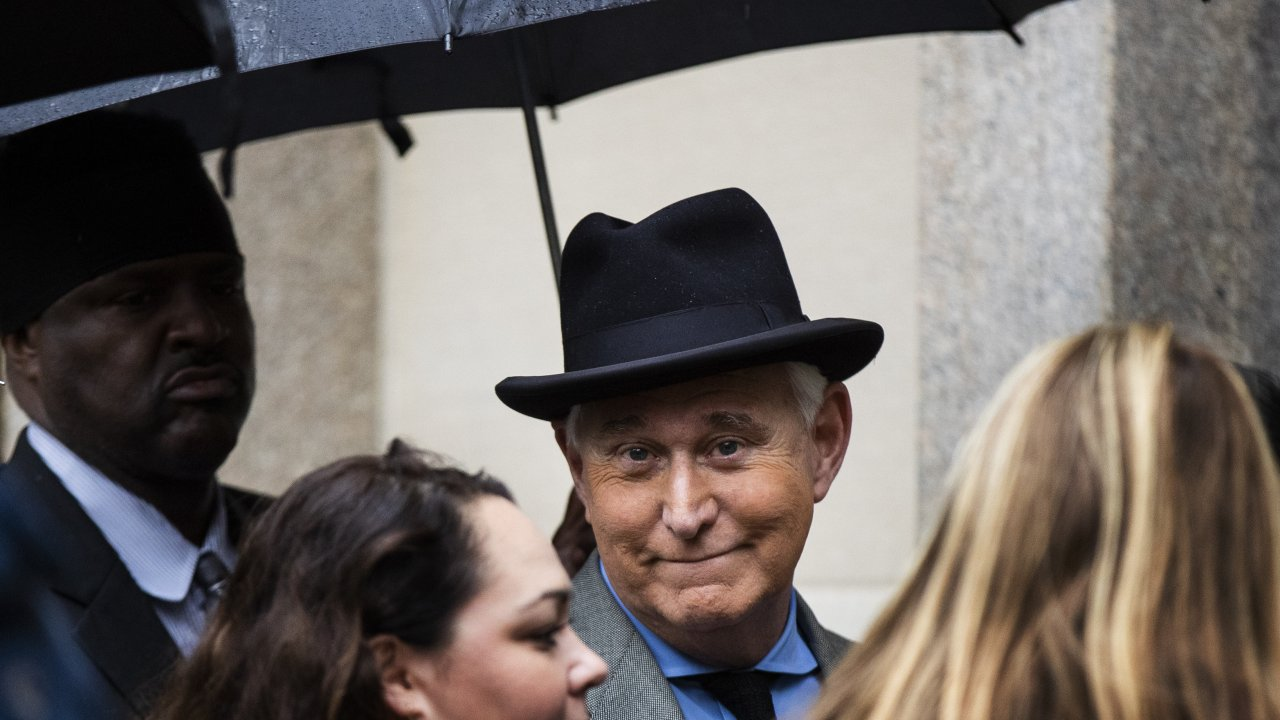 Roger Stone waits in line at the federal court in Washington