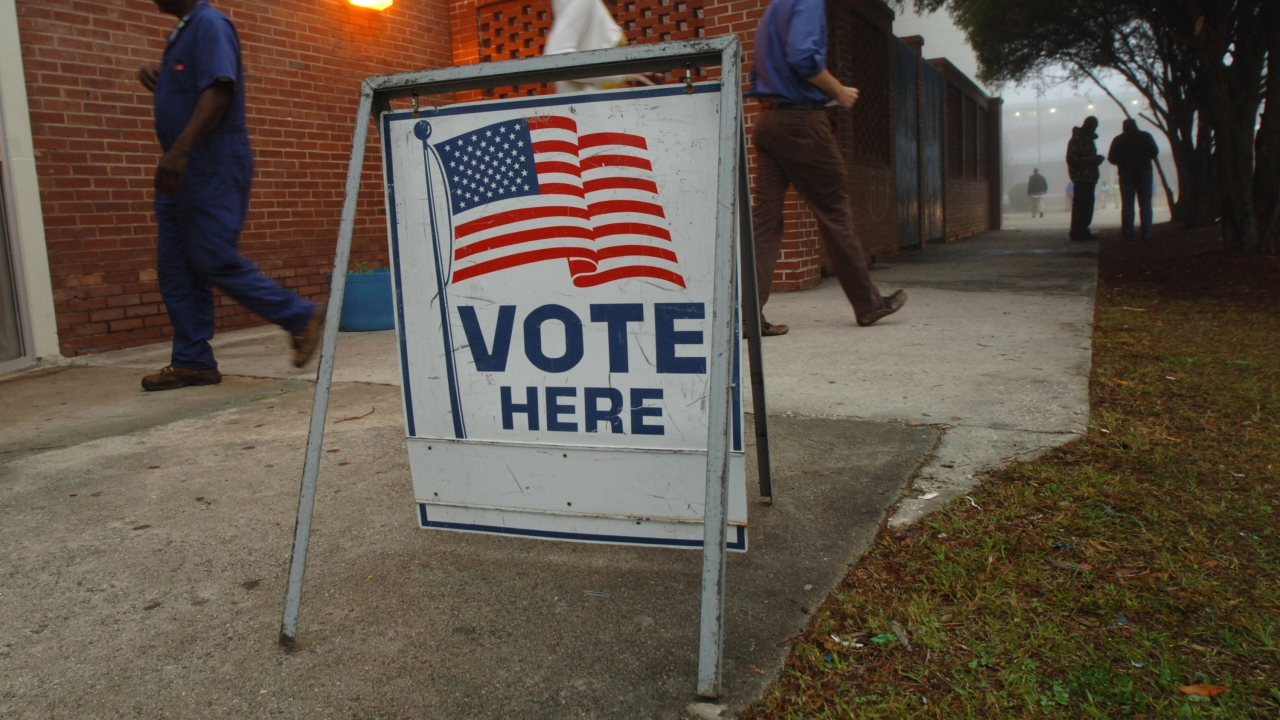 A sign outside a polling place