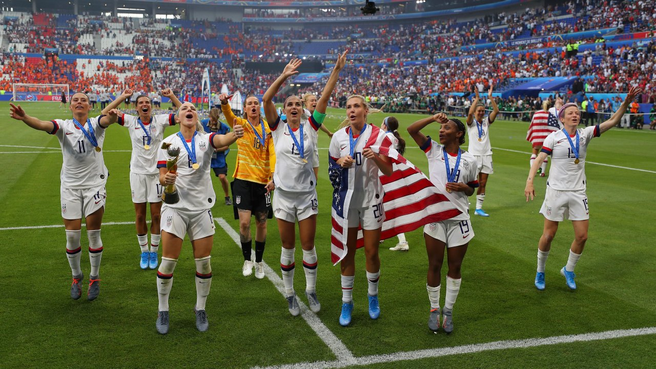 The U.S. Women's National Team celebrates its World Cup victory