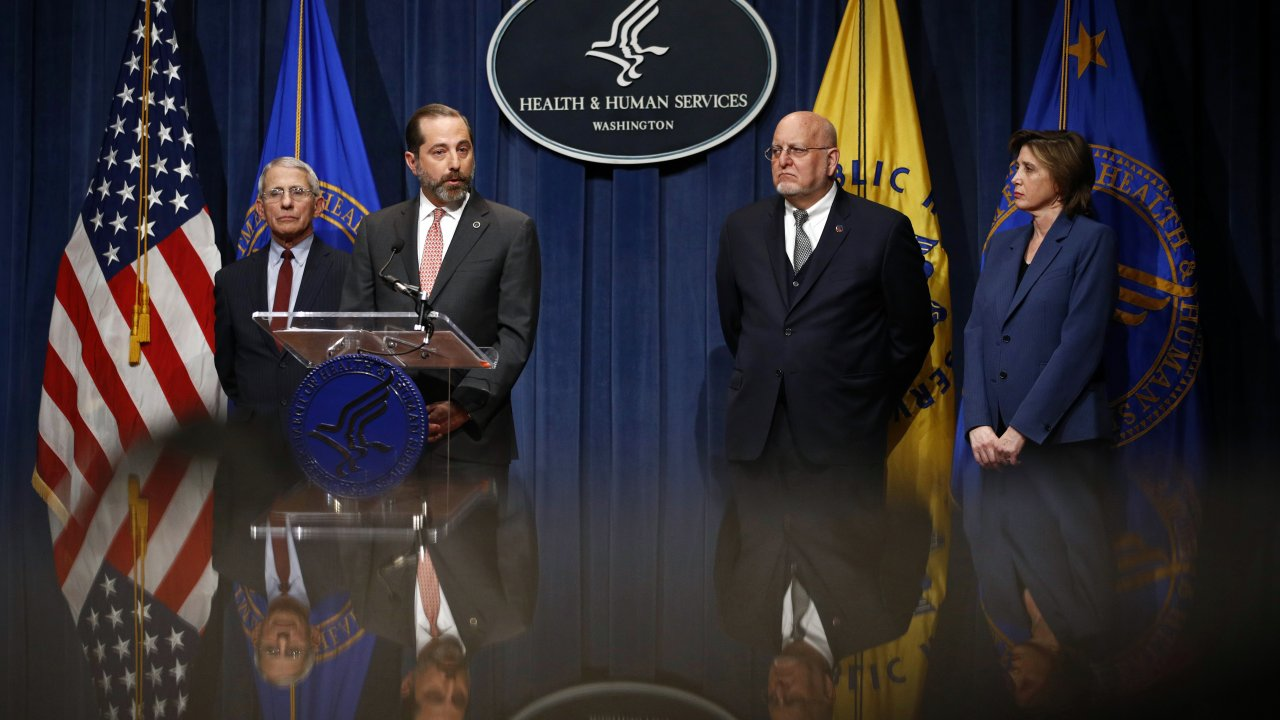 Health Secretary Alex Azar speaks at a news conference about the federal government's response to the novel coronavirus