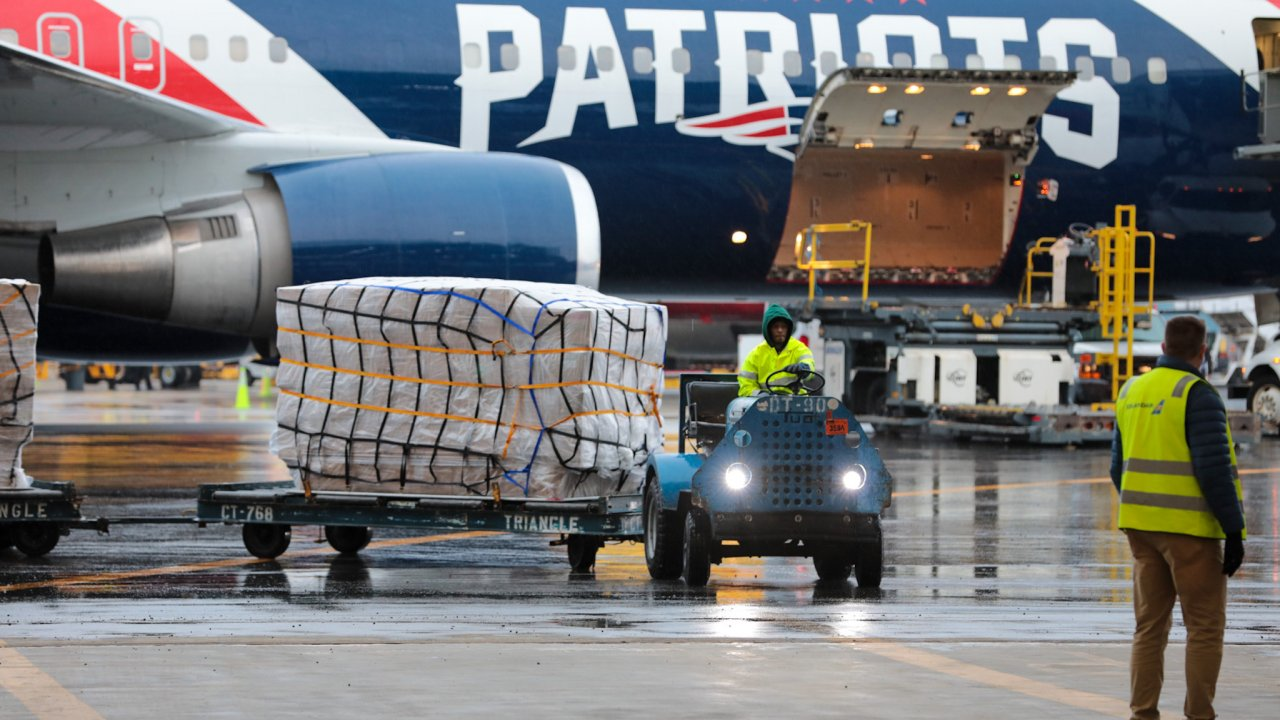 Patriots' plane on tarmac