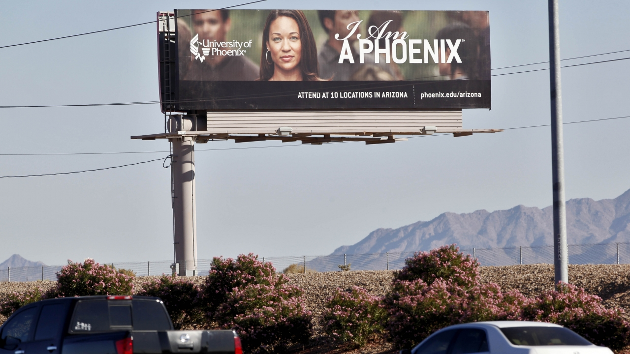 A University of Phoenix billboard