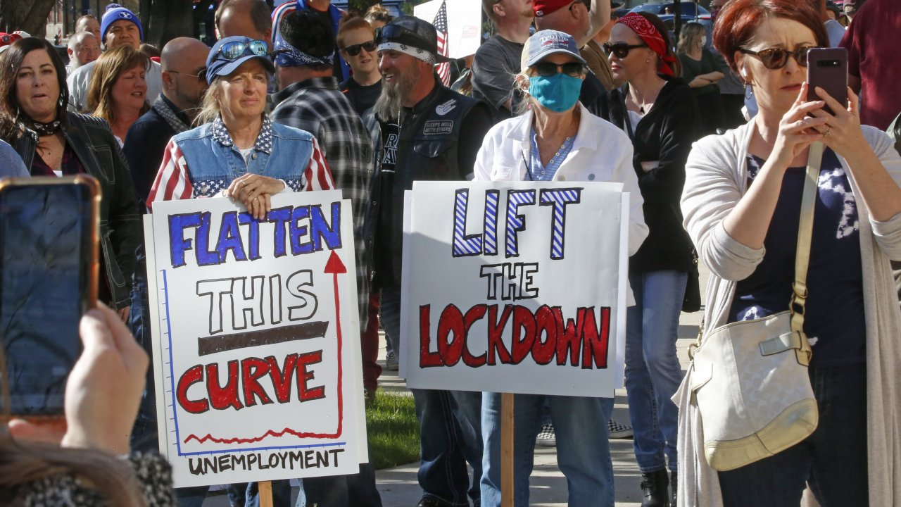 People protest stay-at-home orders