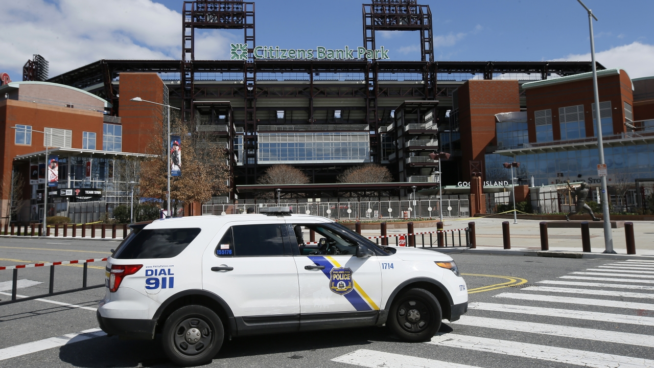 Police vehicle in front of Citizens Bank Park