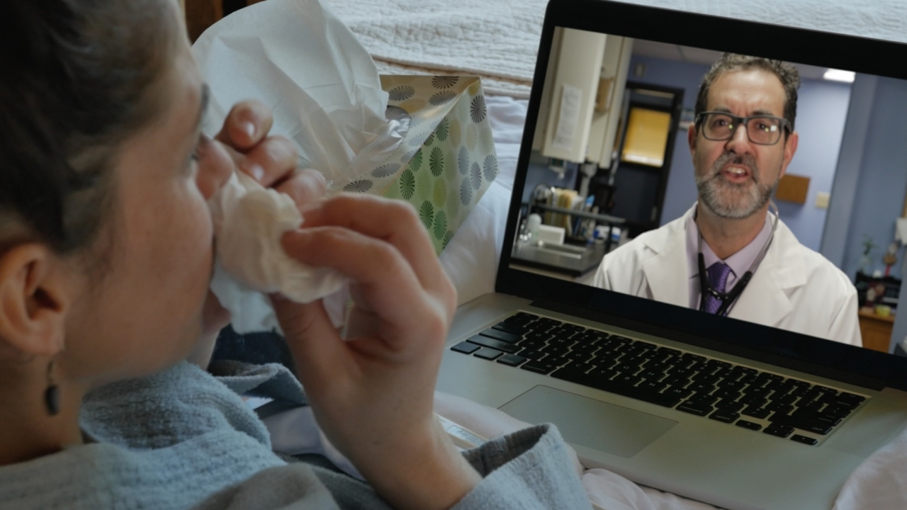 Patient in video call with doctor