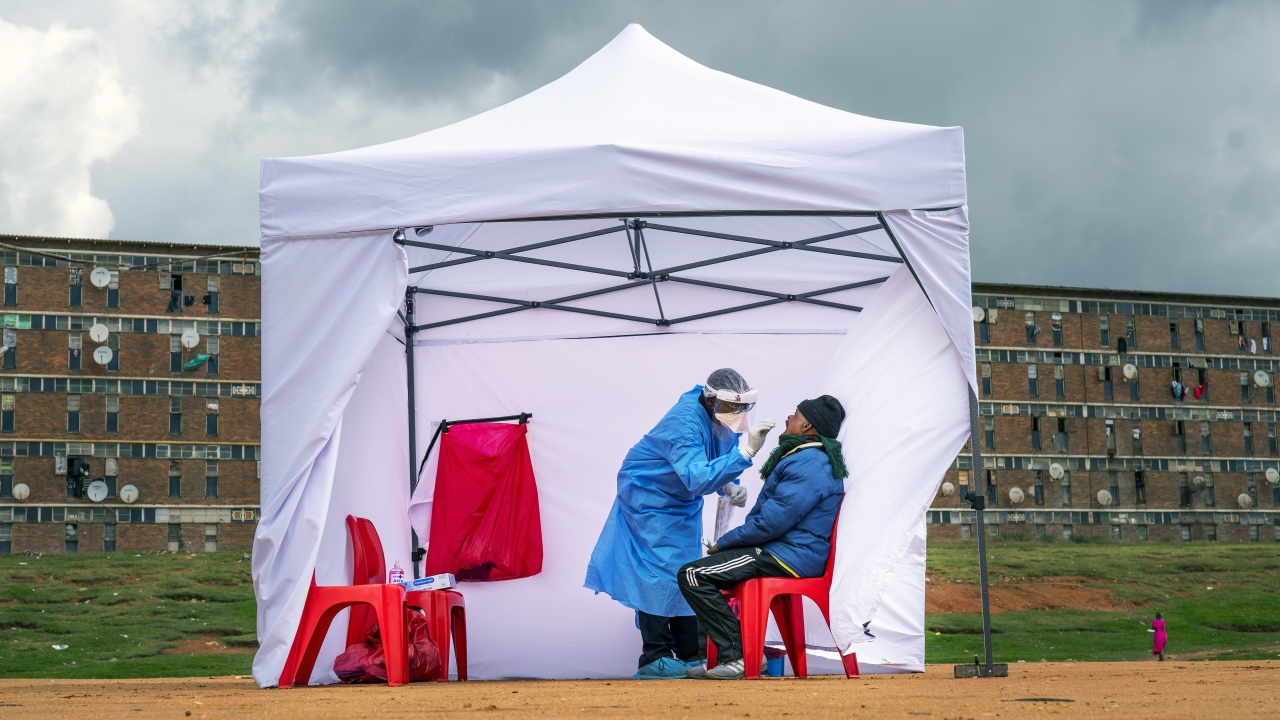 A resident of the Alexandra township gets tested for COVID-19 in Johannesburg, South Africa, Wednesday, April 29, 2020