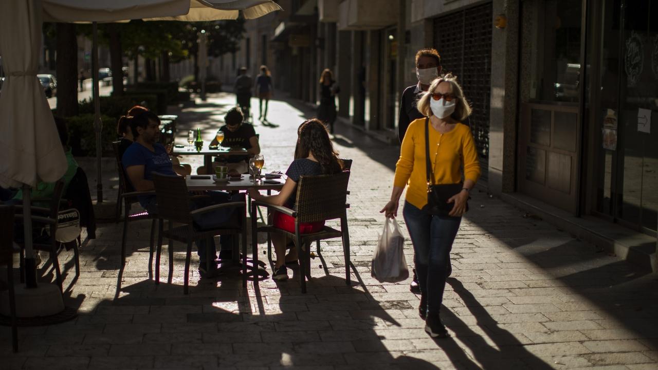 People walking in Girona, Spain