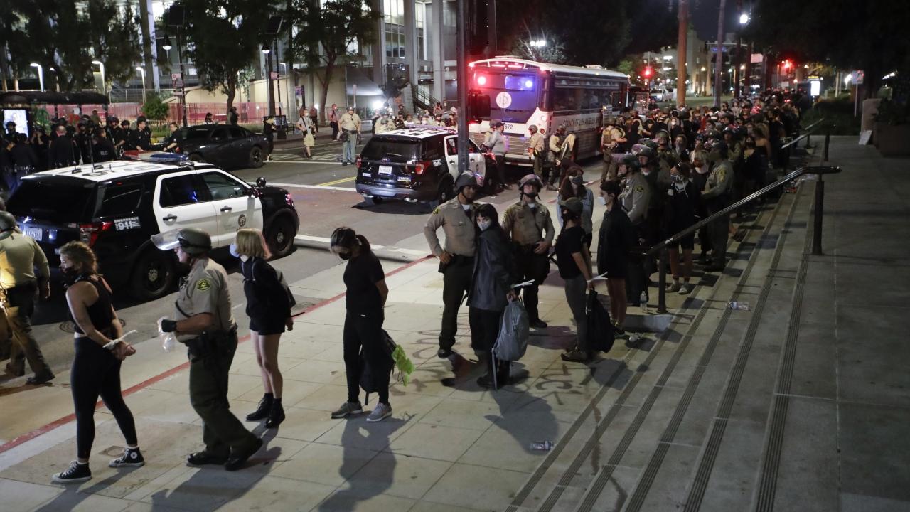 Protesters in police custody