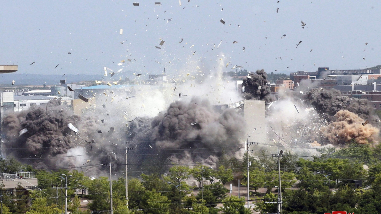 This photo provided by the North Korean government shows the demolition of an inter-Korean liaison office building.